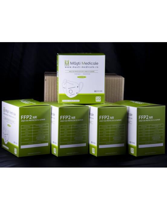 Măști FFP2 / KN95 cu supapă, reutilizabile, 5 straturi, și cu burete de confort, la cutie 50 buc